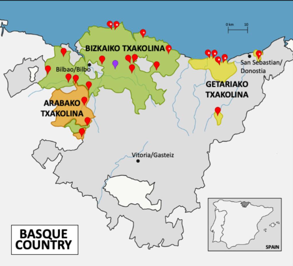 mapa de txakolinerías